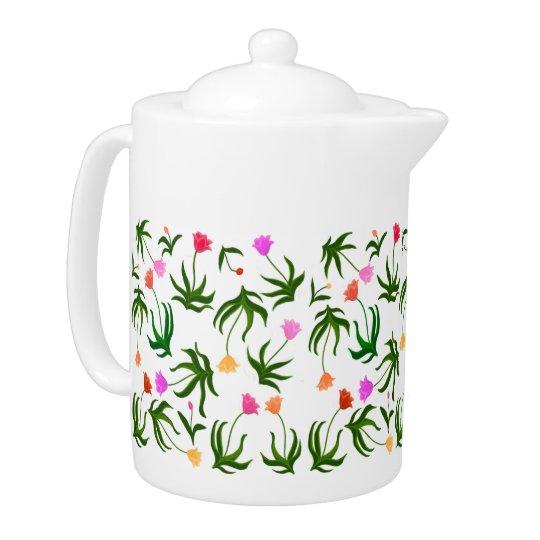 Spring Tulip Garden Teapot
