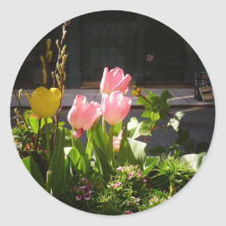 Spring Tulips Against A Street in Soho Classic Round Sticker