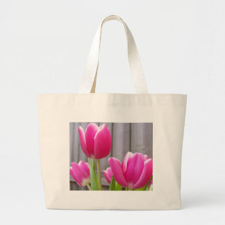 Spring Tulips Along the Fence Tote Bag