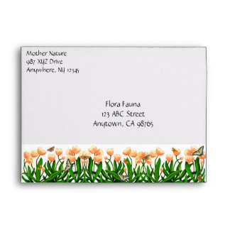 Spring Tulips and Butterflies Envelope