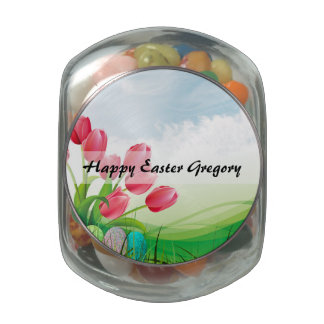Spring Tulips and Easter Eggs Jelly Belly Candy Jar