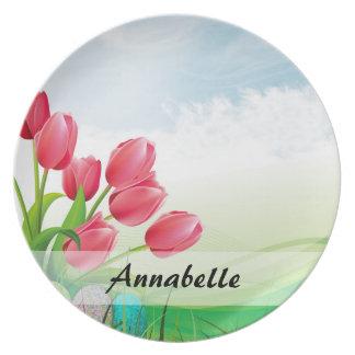 Spring Tulips and Easter Eggs Melamine Plate