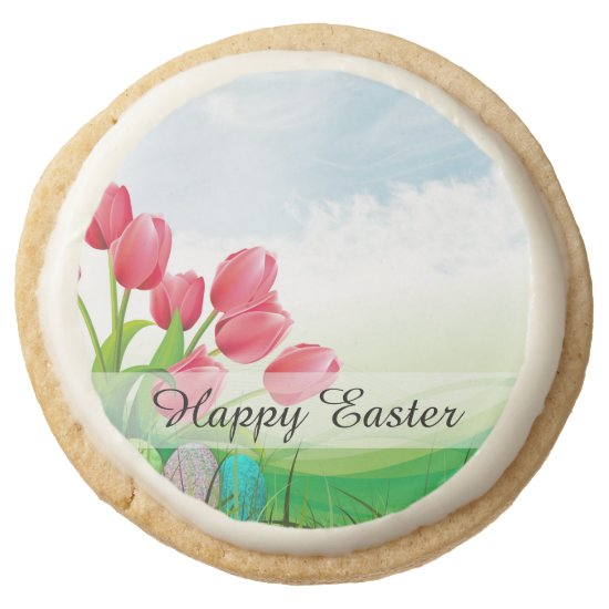 Spring Tulips and Easter Eggs Round Shortbread Cookie