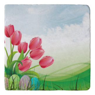 Spring Tulips and Easter Eggs Trivet