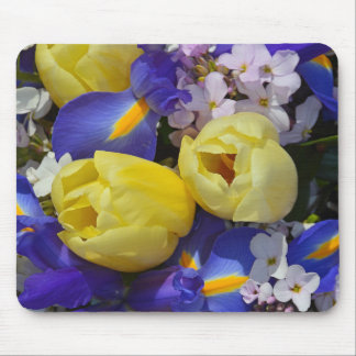Spring tulips and irises flowers mousepad