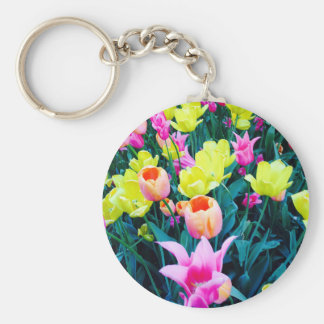 Spring Tulips at Madison Square Park, NYC Basic Round Button Keychain