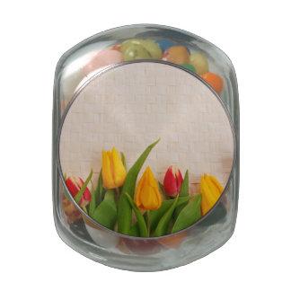 Spring Tulips Glass Jar