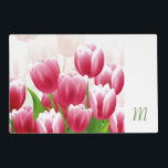 """Spring Tulips. Custom Monogram Easter Placemats<br><div class=""""desc"""">Custom Monogram Spring Tulip Design Easter / Any Occasion Gift Decorative Placemats. Matching cards,  postage stamps and other products available in the Holidays / Easter Category of our store. Happy Easter,  Buona Pasqua,  Felices Pascuas,  Frohe Ostern,  Joyeuses P&#226;ques,  Feliz P&#225;scoa ,  Szczęśliwej Wielkanocy.</div>"""