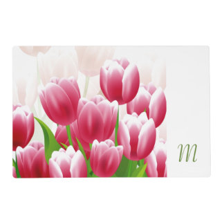 Spring Tulips. Custom Monogram Easter Placemats