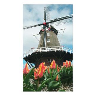 Spring Tulips Dutch Windmill Business Card