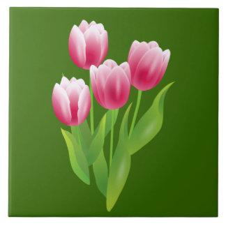 Spring Tulips. Easter Gift Ceramic Tiles