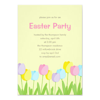 Spring Tulips Easter Party Invitation