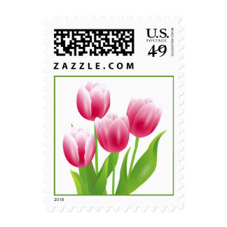 Spring Tulips. Easter Postage Stamp Stamps
