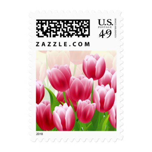 Spring Tulips. Easter Postage Stamps