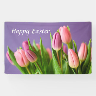 Spring Tulips, Happy Easter, Indoor Decorating Banner
