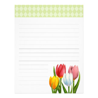 Spring Tulips Lined Letterhead