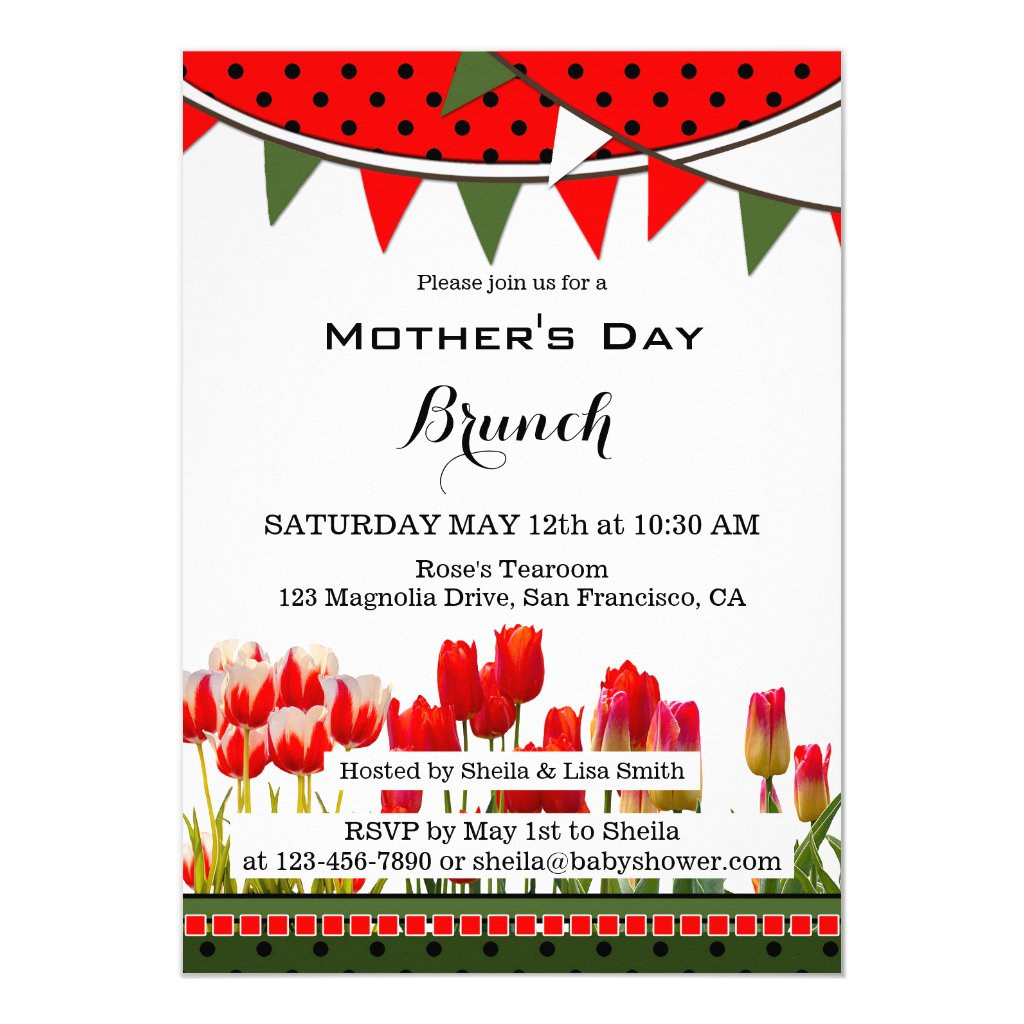 Spring Tulips Mothers Day Brunch Invitation