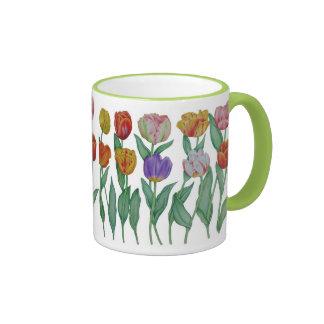 Spring Tulips Ringer Coffee Mug