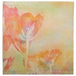 Spring Tulips Pastel Watercolor Napkin