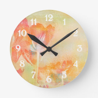 Spring Tulips Pastel Watercolor Round Clock