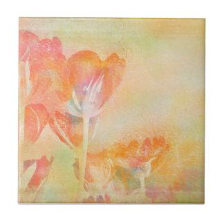 Spring Tulips Pastel Watercolor Tile