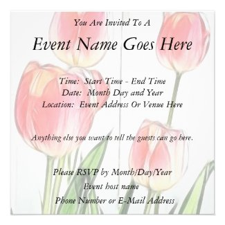 Spring Tulips Personalized Invitation
