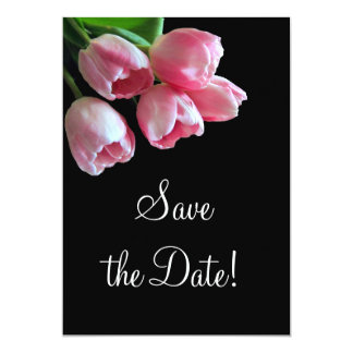 """Spring Tulips Save the Date Announcement 5"""" X 7"""" Invitation Card"""