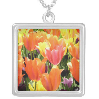 Spring Tulips Silver Plated Necklace