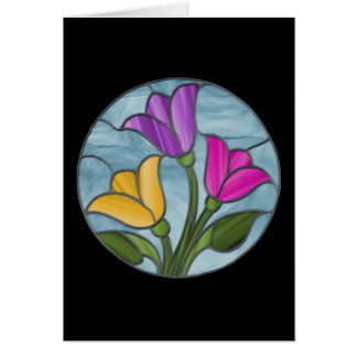 Spring Tulips Stained Glass Card