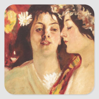 Spring (Two Muses) by Stefan Luchian Square Sticker