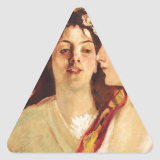 Spring (Two Muses) by Stefan Luchian Triangle Sticker