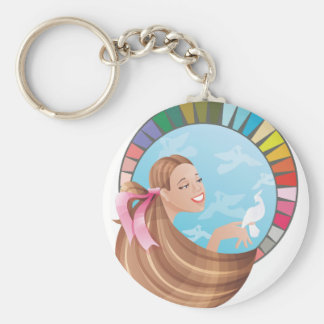 Spring type girl with palette basic round button keychain