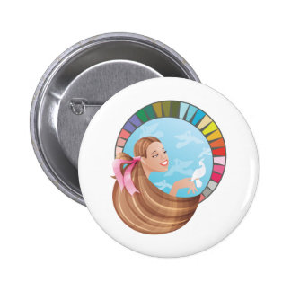 Spring type girl with palette button