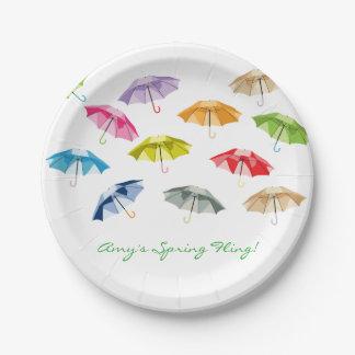 Spring Umbrellas Paper Plate