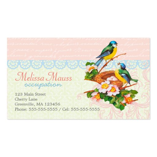 Spring Vintage Cute Bird Couple and Nest Business Cards