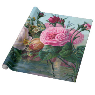 Spring Vintage Flower Linen Wrapping Paper