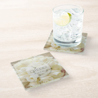 Spring vintage flower loveletter wedding glass coaster