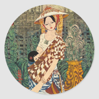 Spring Warmth Chen Yongle oriental lady and child Classic Round Sticker