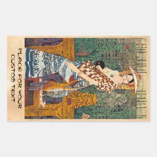 Spring Warmth Chen Yongle oriental lady and child Rectangular Sticker