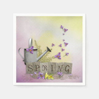 "Spring - ""Water Can & Signs of Spring"" Napkin"