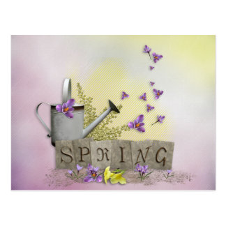"""Spring - """"Water Can & Signs of Spring"""" Postcard"""