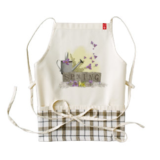 "Spring - ""Water Can & Signs of Spring"" Zazzle HEART Apron"