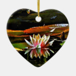 SPRING WATER LILY IN A POND CHRISTMAS ORNAMENTS