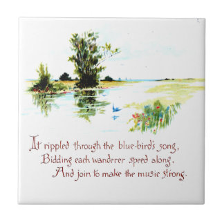 Spring Watercolor Art and Poem Ceramic Tile