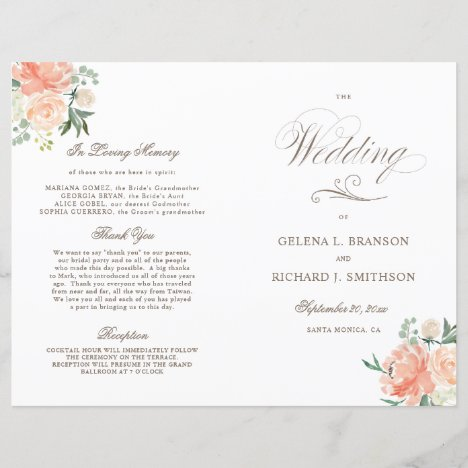 Spring Watercolor Floral Folded Wedding Program