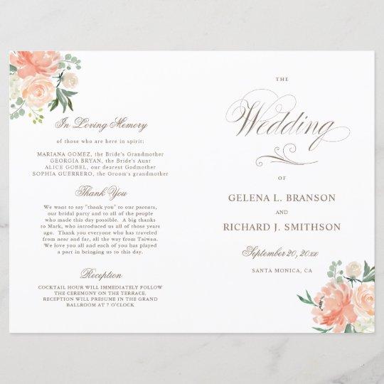 Spring Watercolor Floral Folded Wedding Program