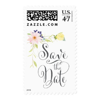 Spring Watercolor Floral Save the Date Stamp