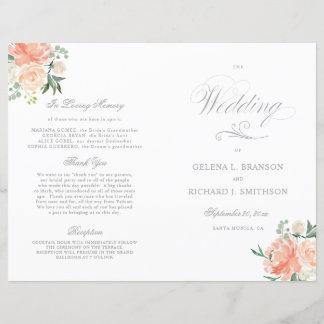Spring Watercolor Floral Wedding Program Silver