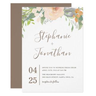 Spring Watercolor Flowers Wedding Invitation