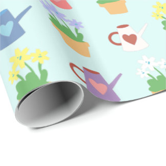 Spring Watering Can and Plant Pattern Wrapping Paper